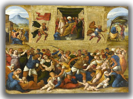 Mazzolino, Lodovico: Massacre of the Innocents. Fine Art Canvas. Sizes: A4/A3/A2/A1 (004030)